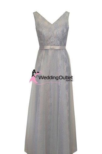 Silver Lace with Tulle Overlay Evening Dress Style #AB1100