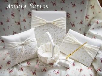 Ring Pillow, Pen Set, Guest Book Angela Series