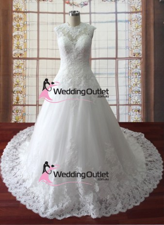 Augustina lace high neck sleeved bridal gown