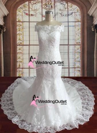 Adeline Lace Off Shoulders Mermaid Wedding Gown