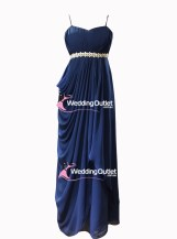 Midnight Blue Evening or Bridesmaid Dresses with Belt Style #AH101