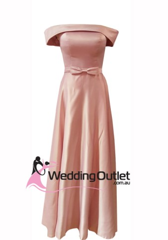 Dusty Pink Off Shoulders Satin Evening Dress Style #BC101