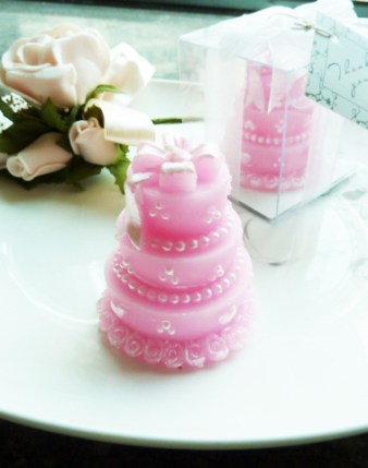 Pink Cake Candle wedding favour