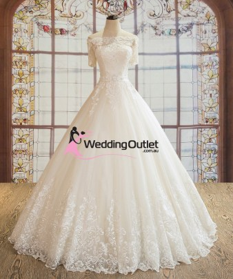 Paisley Off Shoulder with Sleeves Luxury Wedding Dress