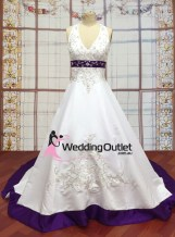 Liana Halter Neck Satin Embroidery Purple Wedding Dress