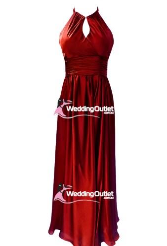 Red Satin Halter Neck Evening Dress Style #AJ101