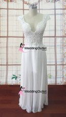 Madison knee length chiffon cap sleeve wedding dress