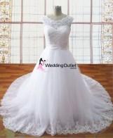 Vivian Boat Neckline Lace Princess Wedding Dresses