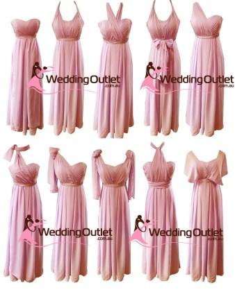 Dusty Pink Convertible Wrap Dress Style #UU101