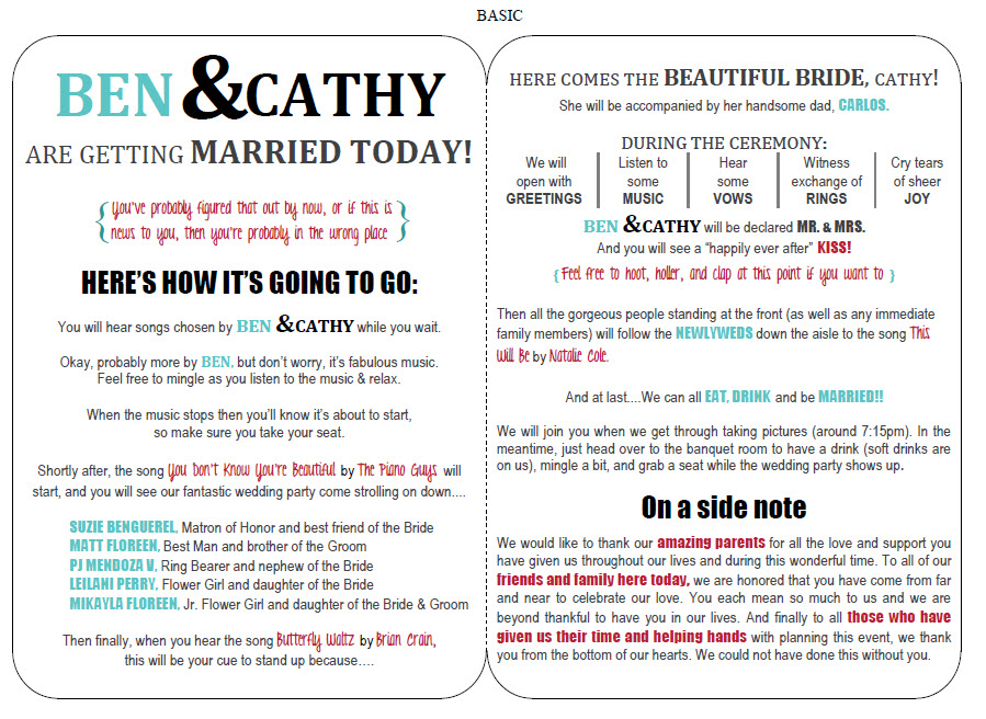 Wedding Programs - Paper Crafts  Creations - programs templates free