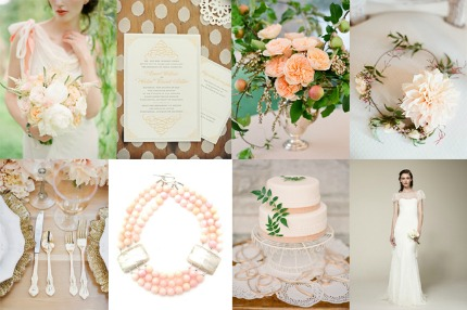 peach and gold wedding inspiration board via glamour and grace