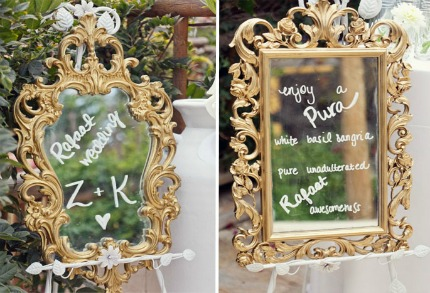 Mirror Wedding Decor via The Bridal Detective