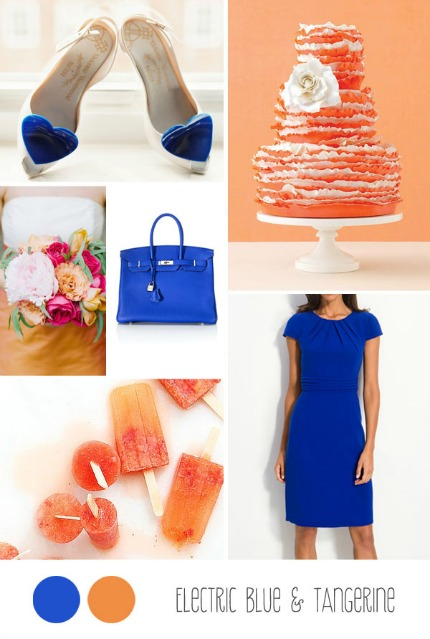 Electric Blue and Tangerine Inspiration via Belle & Chic