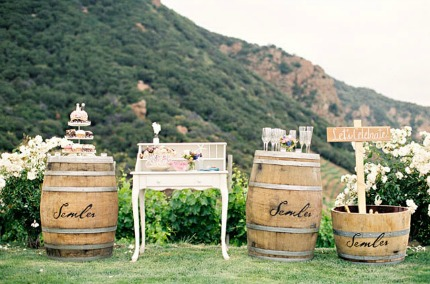 Wine Barrels via Postcards & Pretties