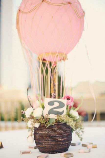 Hot Air Balloon Wedding Centerpieces via Love & Lavender