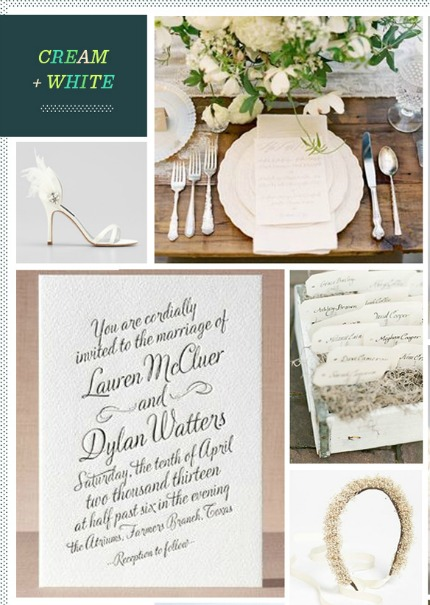 Cream & White Wedding Inspiration via Revel