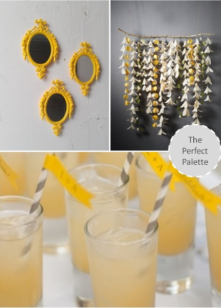 Yellow & Gray Wedding Inspiraton via The Perfect Palette