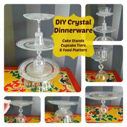 Upcycled Crystal Cake Stands via Craftbits