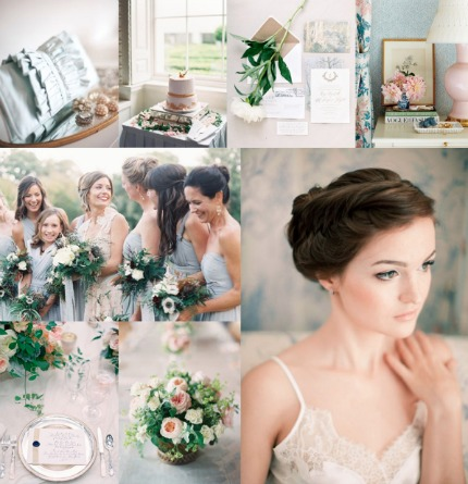 Powder Blue, Blush, and Gold Wedding Inspiration via Elizabeth Anne Designs