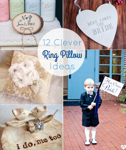 12 Clever Ring Pillow Ideas via Emmaline Bride
