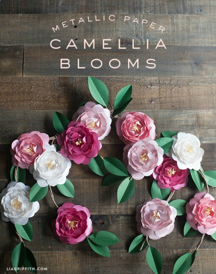 DIY Metallic Paper Camellias via Lia Griffith