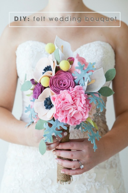 DIY Felt Wedding Bouquet via Something Turquoise
