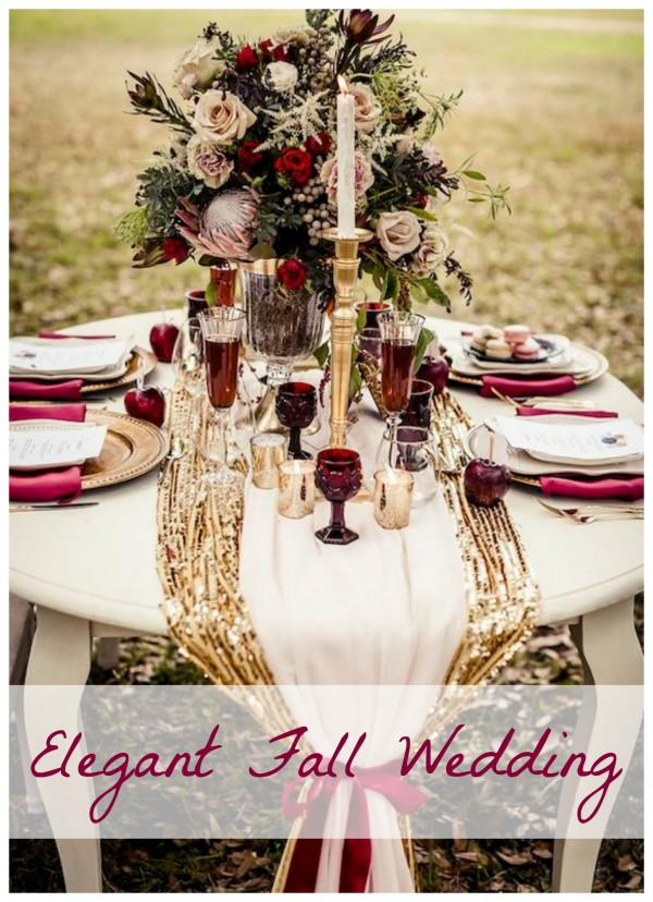 Elegant Burgundy and Gold Fall Wedding