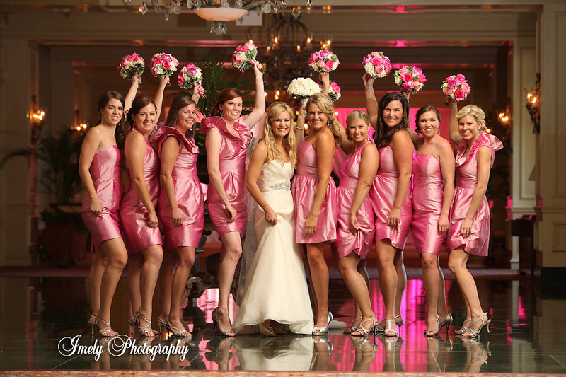 Bridal Party with Bouquets at Sarasota Ritz Carlton Wedding