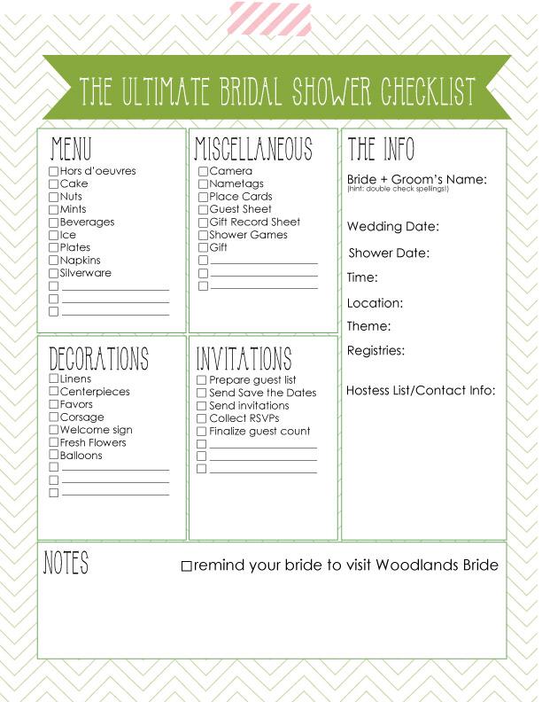 The Woodlands Wedding Planning Guide - Wedding Venues in Houston - bridal shower checklist