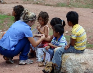 Medical Mission share the Wordless Book Story with children in Peru