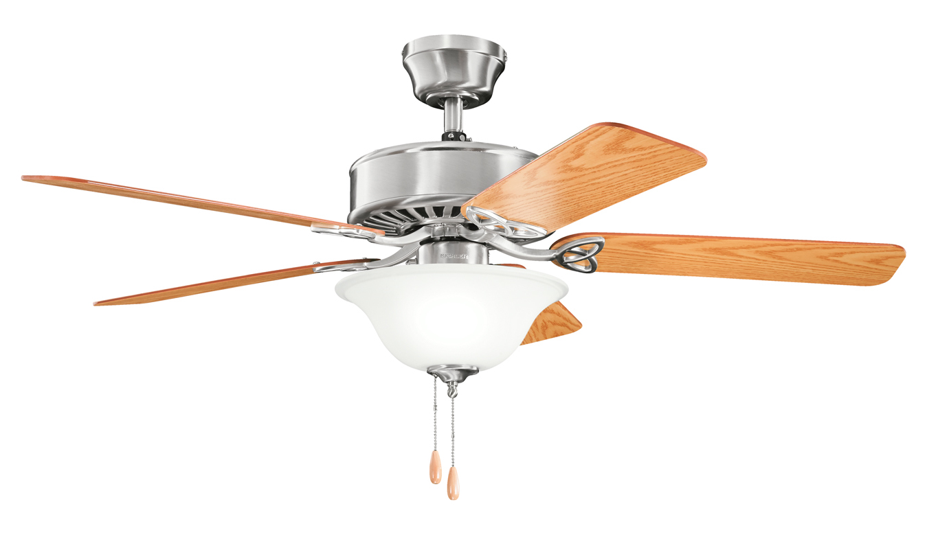 Stainless Ceiling Fans With Light Kichler Three Light Brushed Stainless Steel Ceiling Fan