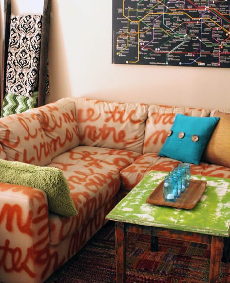 DIY graffiti sofa
