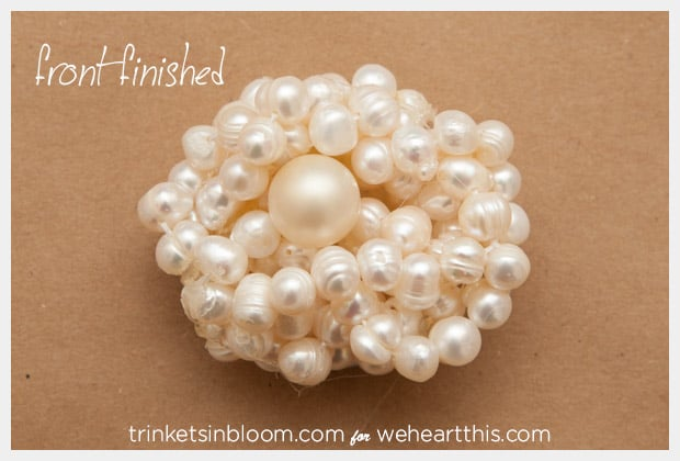 twisted pearl brooch front finished DIY Jewelry: Twisted Pearl Brooch