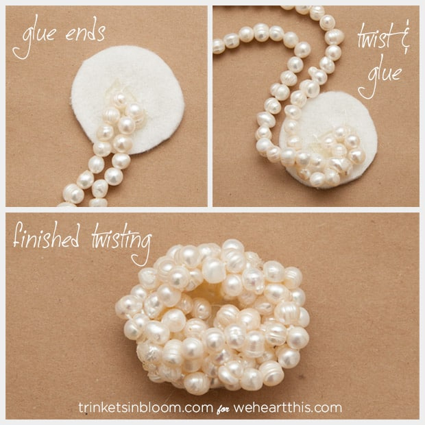 twisted pearl brooch twisting pearls DIY Jewelry: Twisted Pearl Brooch