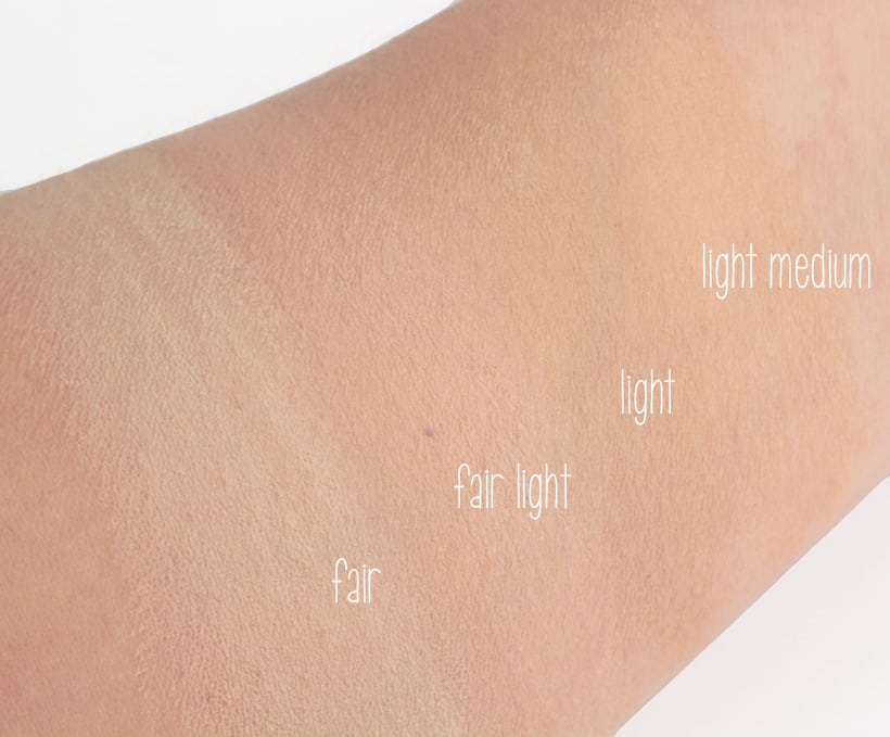 IT Cosmetics Bye Bye Foundation swatches of all 12 shades we