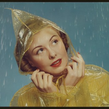 1940s girl in a rain coat from McCall magazine