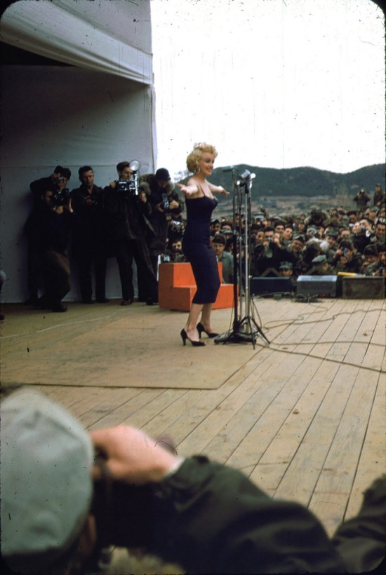 Marilyn Monroe performing for the troops, 1950s