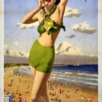 1940s girl in a bikini advertising the seaside at Whitley Bay