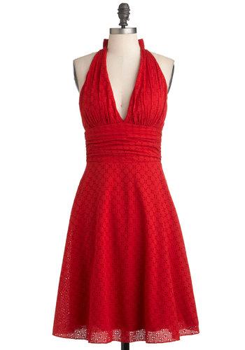 Red halterneck pin up dress