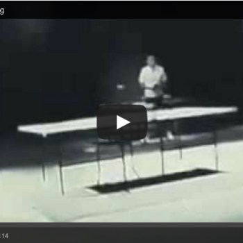 Bruce Lee playing ping pong with Nunchucks