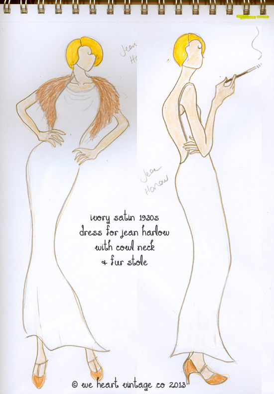1930s dress design for Jean Harlow