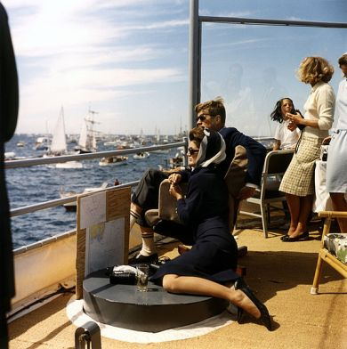 JFK and Jackie Kennedy watching the Americas Cup Race
