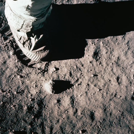 Astronauts feet on the moon