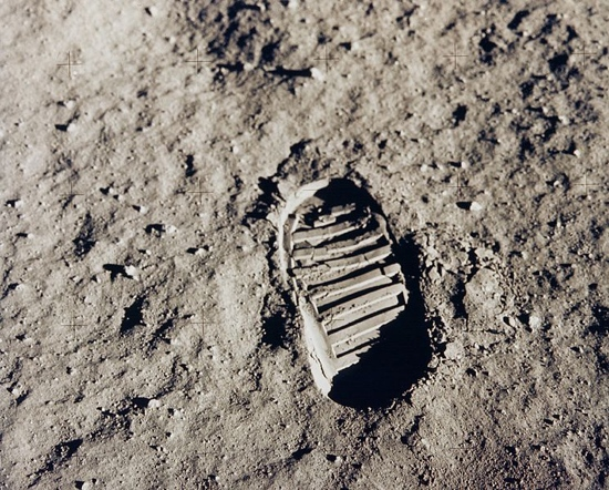 Footprint on the lunar surface