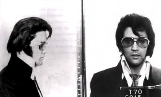 Mug shot of Elvis, 1970