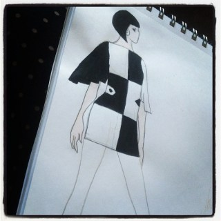 Fashion sketch: sixties mod shift dress