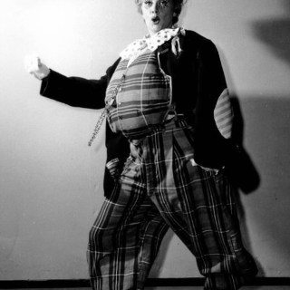 Lucille Ball dressed as a fat clown
