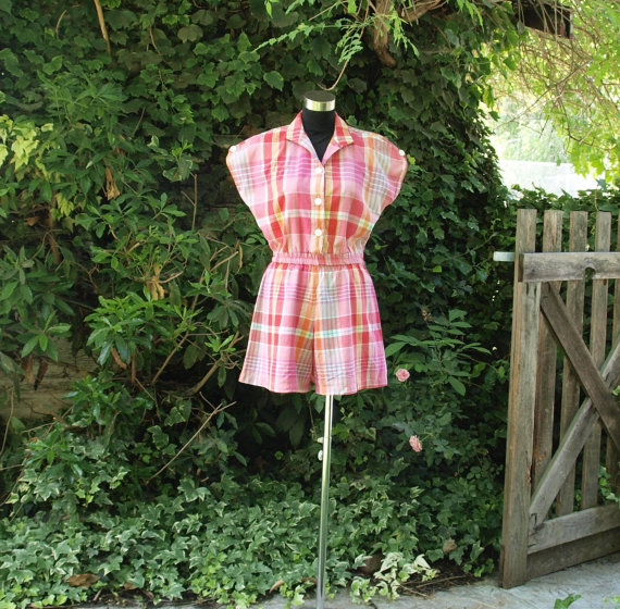 Classic 1950s style button-front playsuit from Moon Glow Boutique