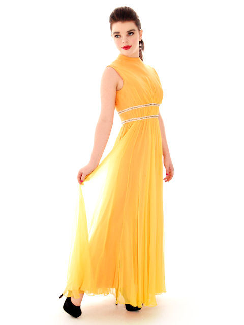Vintage Yellow Silk Chiffon Maxi Evening Gown Modern Couture 1970s