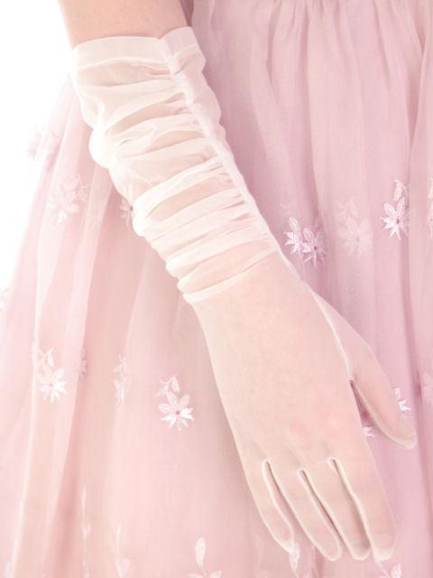 Vintage Sheer White Nylon Gloves Fownes Make 6 1/2 1940s